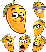 Cartoon Mango set of 6 expressions including: Tasty, Feeling Cool, Teary eyes, Dizzy, Shocked, and Laughing