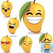 Cartoon mango set including: