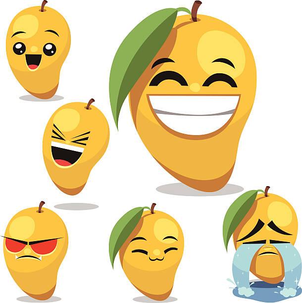 ilustraciones, imágenes clip art, dibujos animados e iconos de stock de mango de historieta conjunto b - lágrimas de emoji alegre