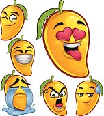 Cartoon mango set of 6 expressions including: Winking, Smiling, In Love, Crying., Angry, Sweat Drop