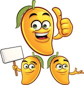Cartoon mango set of 3 including: Thumbs Up, Holding Sign, and Presenting