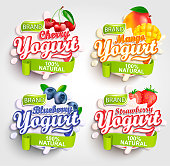Mango, cherry, strawberry and blueberry Yogurt label with splash, Fresh and Natural,for your brand and template,label,emblem for groceries, stores and packaging, advertising.Vector illustration.