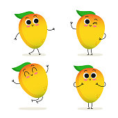 Mango. Cute cartoon exotic fruit vector character set isolated on white
