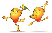 Funny mango couple giving a nice and healthy ballet dance.