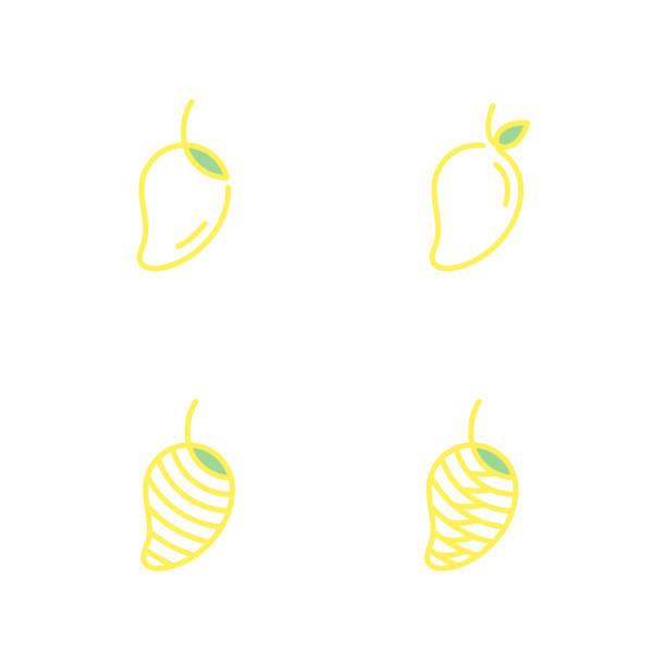 Los iconos de fruta mango delinear ilustración de color amarillo de diseño trazo aislado sobre fondo blanco, vector eps10 - ilustración de arte vectorial