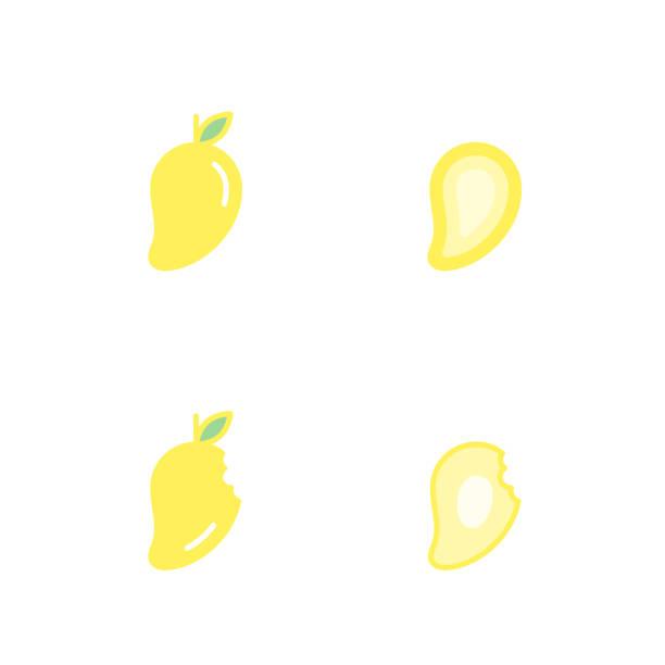 Los iconos de fruta mango conjunto ilustración de color de diseño amarillo aislado sobre fondo blanco, vector eps10 - ilustración de arte vectorial
