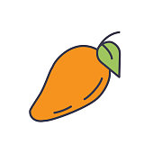 A thin line icon in a fruit theme. Mango.