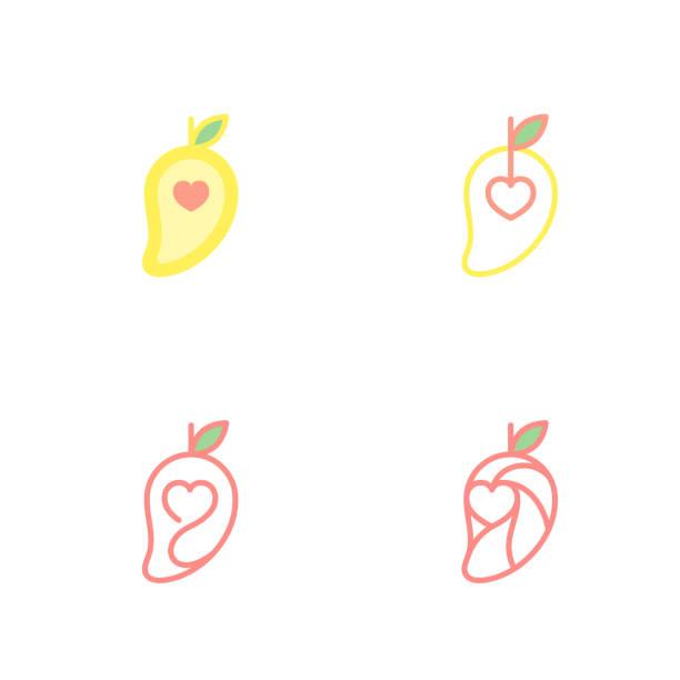 Mango cuajado con iconos de amor corazón ilustración diseño aislado sobre fondo blanco, vector eps10 - ilustración de arte vectorial
