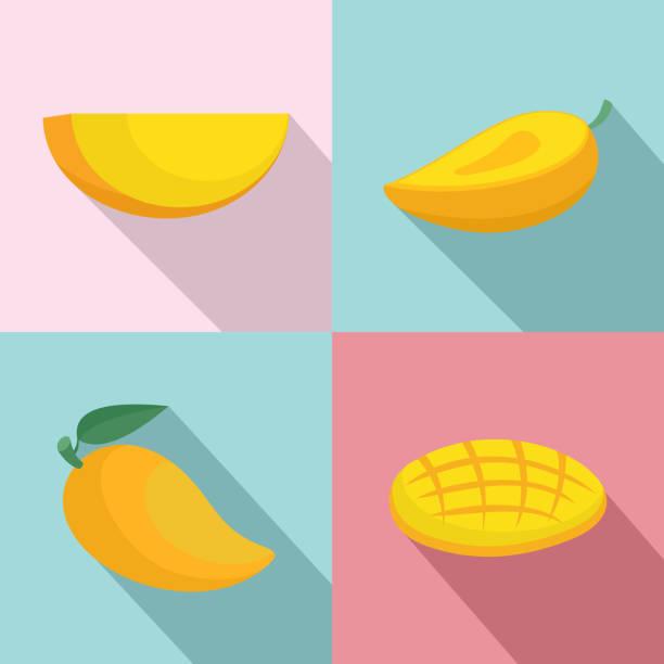 ilustraciones, imágenes clip art, dibujos animados e iconos de stock de mango fruta amarilla iconos conjunto, plano estilo - mango