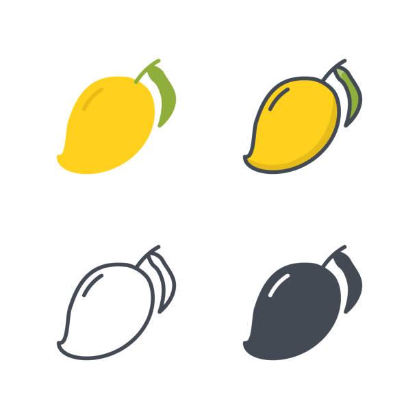 mango früchte essen symbol vektor farbige flache linie - lachskuchen stock-grafiken, -clipart, -cartoons und -symbole