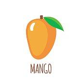 Mango in flat style. Mango vector logo. Mango icon. Isolated object. Vector illustration. Mango on white background