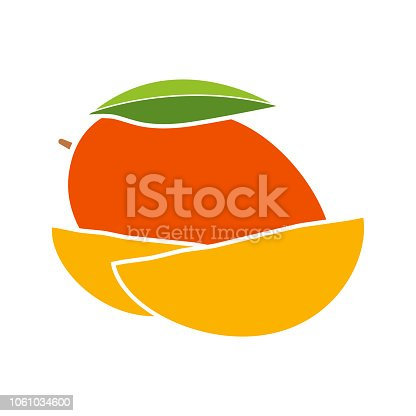 Mango glyph color icon with no outline. Vector illustration