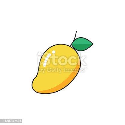 Mango Fruit, Fruit, Icon, Vector, Cartoon