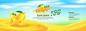 Mango Juice Advertising Banner Ads Vector Template Design