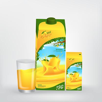 Mango Juice Product Packaging Vector Concept Design