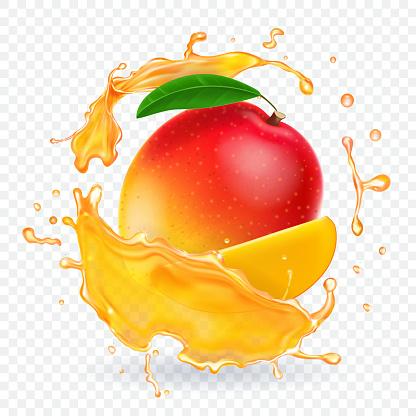 Mango juice splash realistic illustration