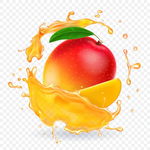 ilustraciones, imágenes clip art, dibujos animados e iconos de stock de ilustración realista splash de jugo de mango - mango