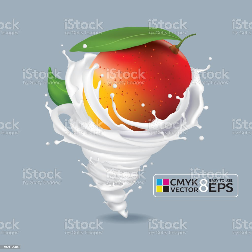 Mango Milk Tornado vector art illustration