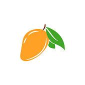Mango tropical fruit vector isolated illustration. Juicy summer fruit icon clip art.
