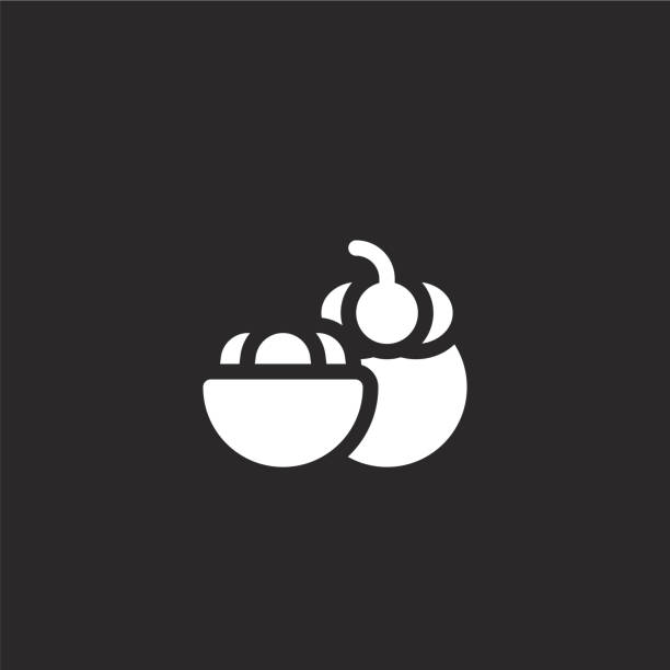 mangosteen icon. Filled mangosteen icon for website design and mobile, app development. mangosteen icon from filled summer food and drink collection isolated on black background. mangosteen icon. Filled mangosteen icon for website design and mobile, app development. mangosteen icon from filled summer food and drink collection isolated on black background. avocado symbols stock illustrations