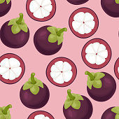 Mangosteen seamless pattern on pink background. Vector illustration of tropical fruit  whole and half in cartoon flat style.