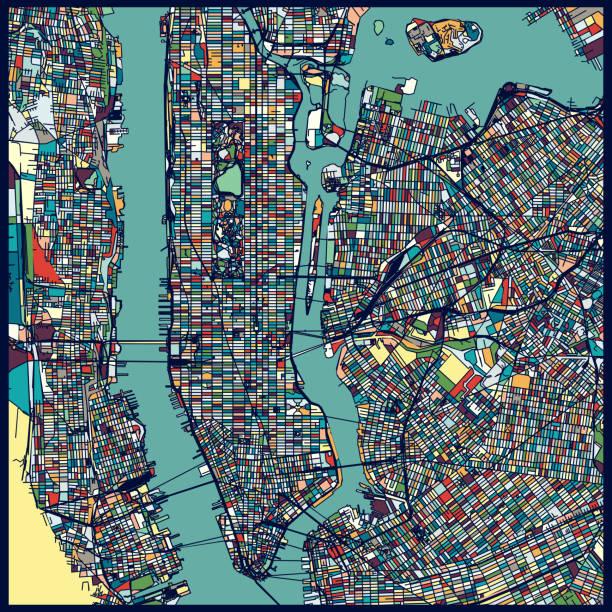 manhattan area art map - new york map stock illustrations, clip art, cartoons, & icons