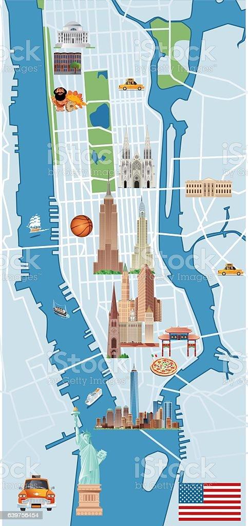 Manhattan Cartoon vector art illustration