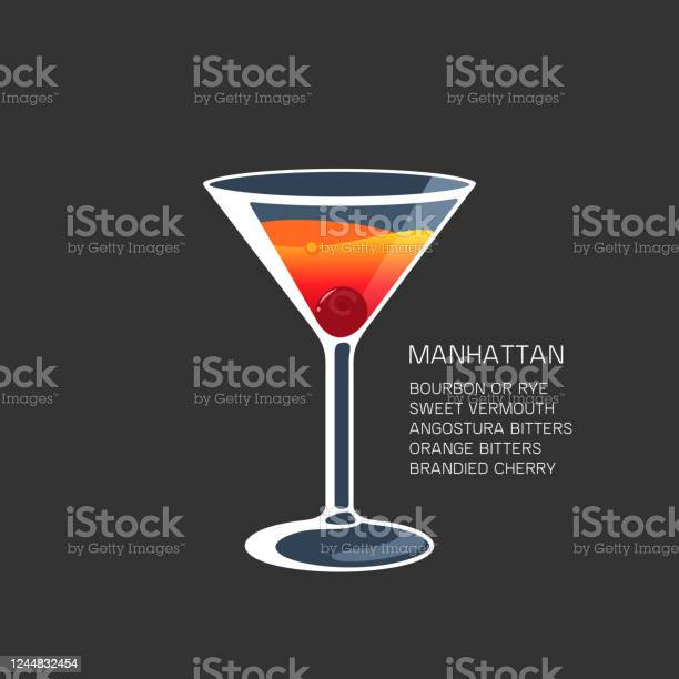 Manhattan Cocktail Alcohol Drink Martini Glass Vector Illustration Stock Illustration Download Image Now Istock