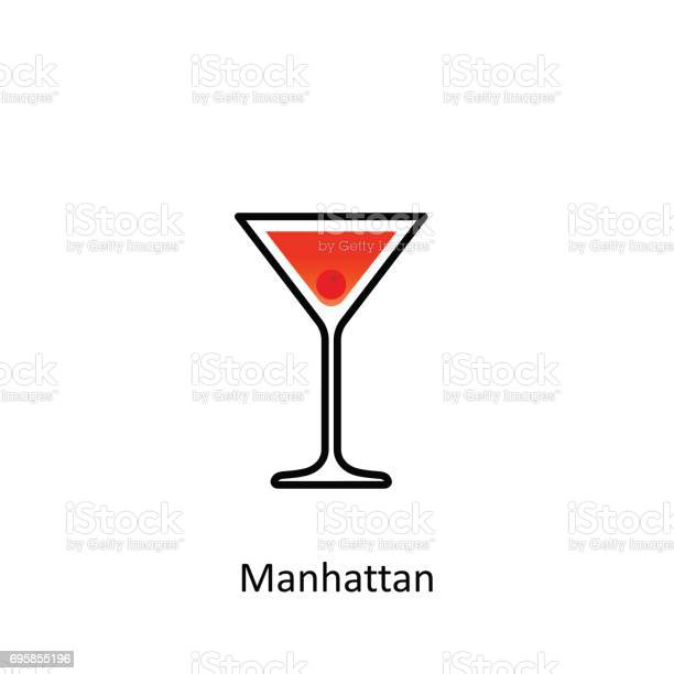 Manhattan Cocktail Icon In Flat Style Stock Illustration Download Image Now Istock