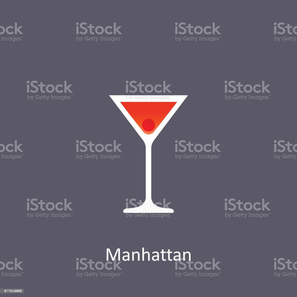 Manhattan Cocktail Icon On Dark Background In Flat Style Stock Illustration Download Image Now Istock