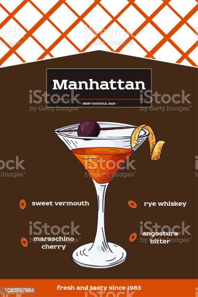 Manhattan Cocktail Recipe With Ingredients Hand Drawn Illustration In Sketch Style Vector Collection Stock Illustration Download Image Now Istock