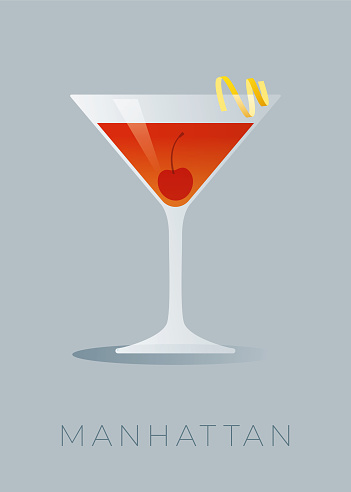 Manhattan cocktail with a lemon peel and a maraschino cherry.