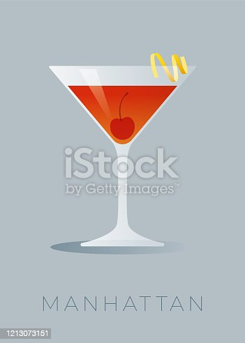Manhattan is a classic cocktail made with rye whiskey, sweet vermouth, and a dash of bitters.  The cocktail is garnished with a lemon peel and an maraschino cherry. Stock illustration