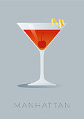 istock Manhattan cocktail with a lemon peel and a maraschino cherry. 1213073151
