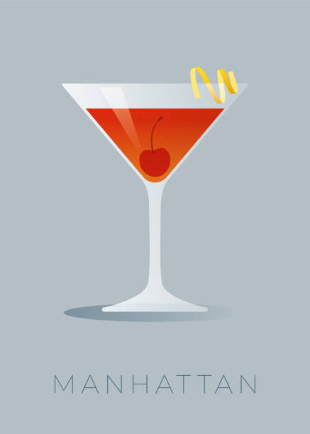 illustrazioni stock, clip art, cartoni animati e icone di tendenza di manhattan cocktail with a lemon peel and a maraschino cherry. - aperitivo