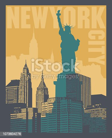 Manhattan, New York city, silhouette illustration in flat design, t-shirt print design or poster, vector illustration