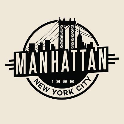 Manhattan, New York City t-shirt or print typography design.