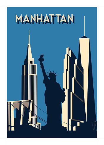 manhattan- retro poster