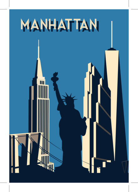 manhattan- retro poster manhattan- retro poster architecture silhouettes stock illustrations