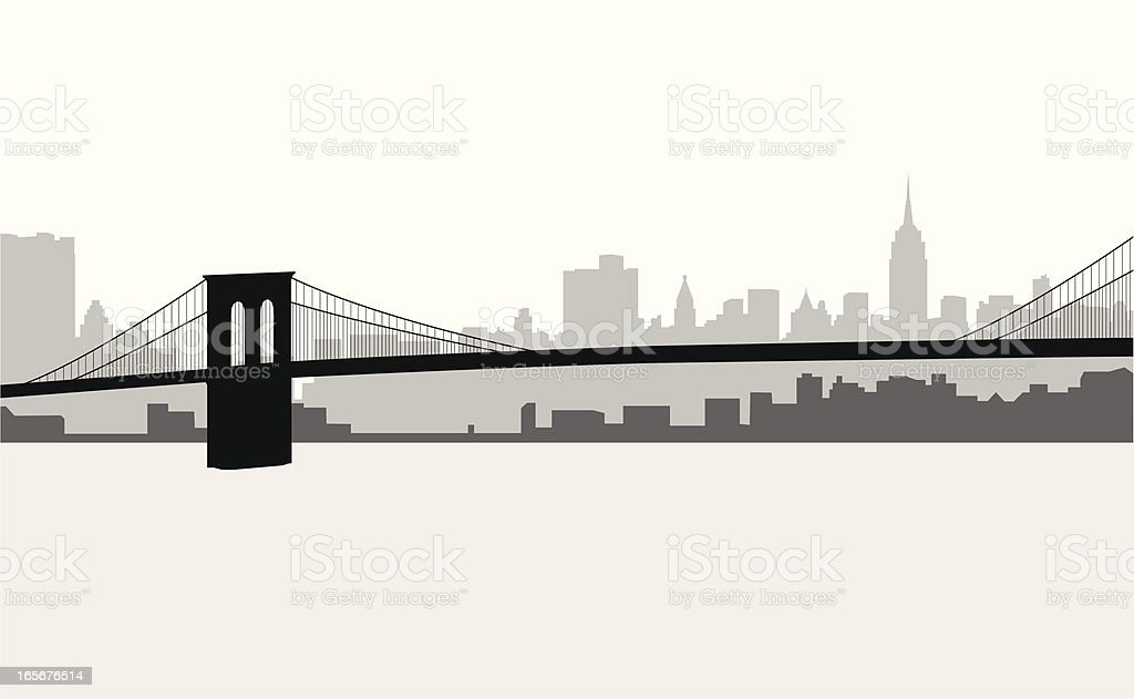 Manhattan Skyline - Royalty-free Back Lit stock vector