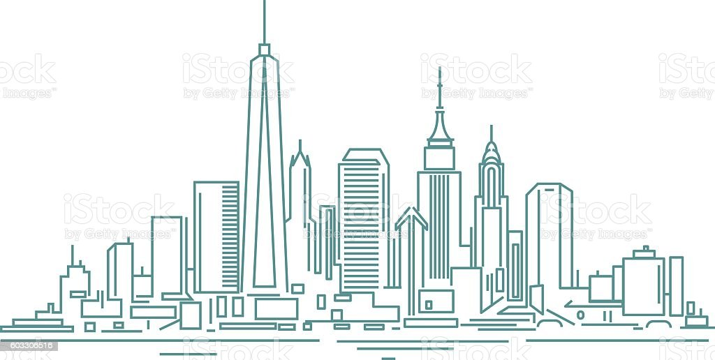 Manhattan skyline vector art illustration