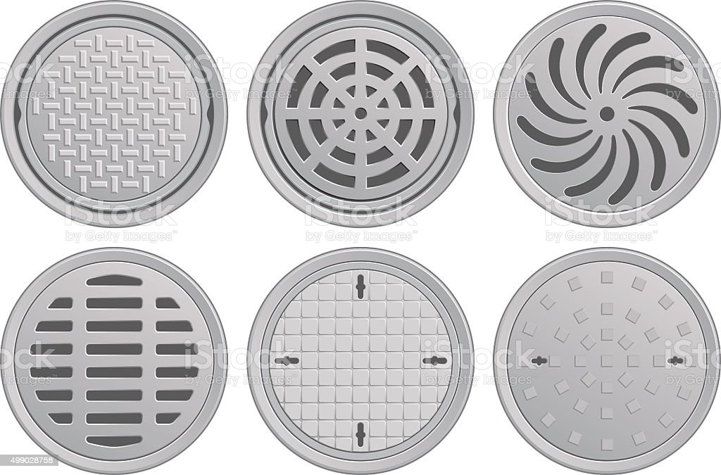 Manhole Covers vector art illustration