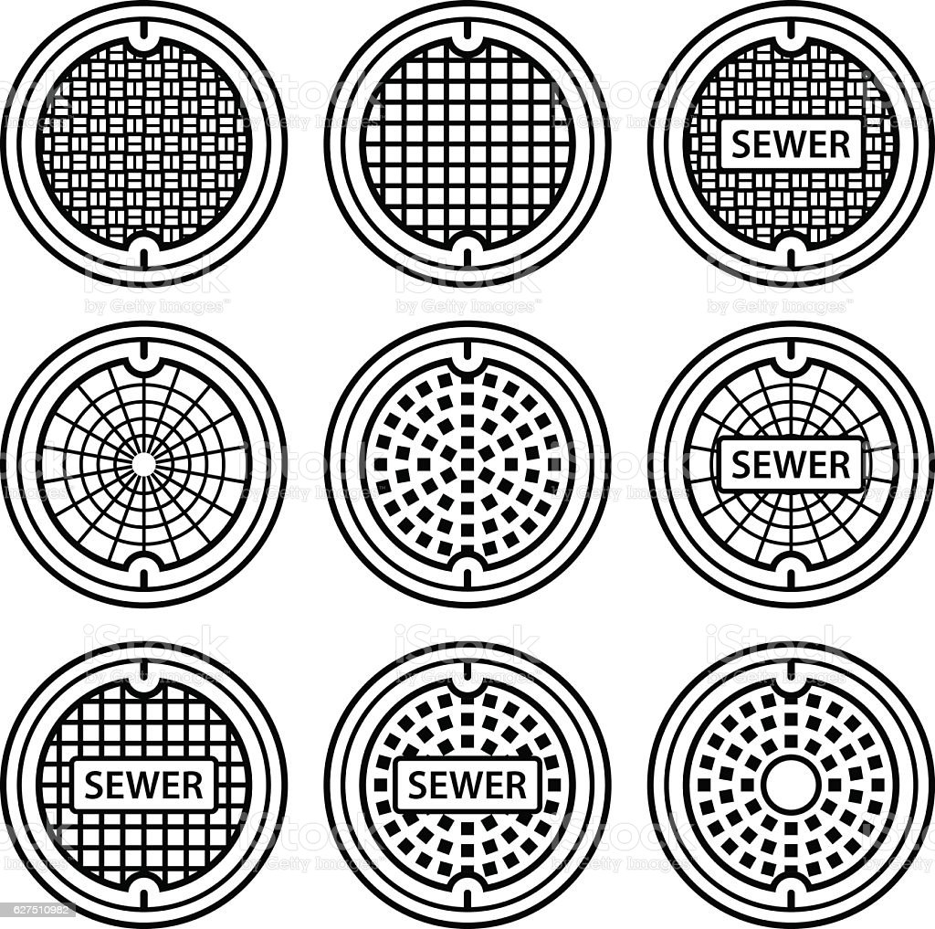 manhole sewer cover black symbol vector art illustration