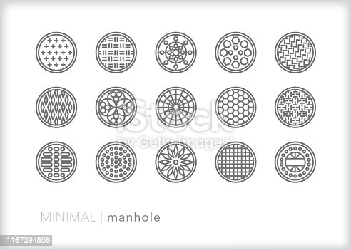 Set of 15 different manhole covers for urban infrastructure access to utilities, sewer, underground and electric services