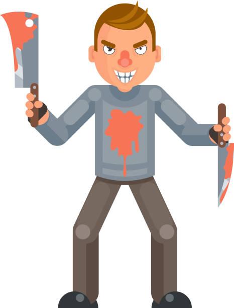maniac killer psychopath blutmesser axt hand wahnsinnige böse psycho-zeichentrickfigur flachen design isolierte vektorillustration - vertrauensbruch stock-grafiken, -clipart, -cartoons und -symbole