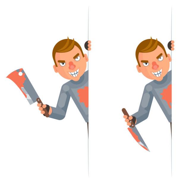 maniac look out corner killer blood knife axe hand insane evil psycho cartoon character flat design isolated vector illustration - vertrauensbruch stock-grafiken, -clipart, -cartoons und -symbole