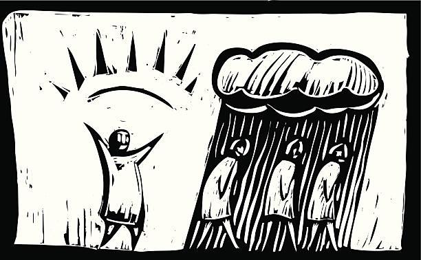 stockillustraties, clipart, cartoons en iconen met manic depression - houtgravure