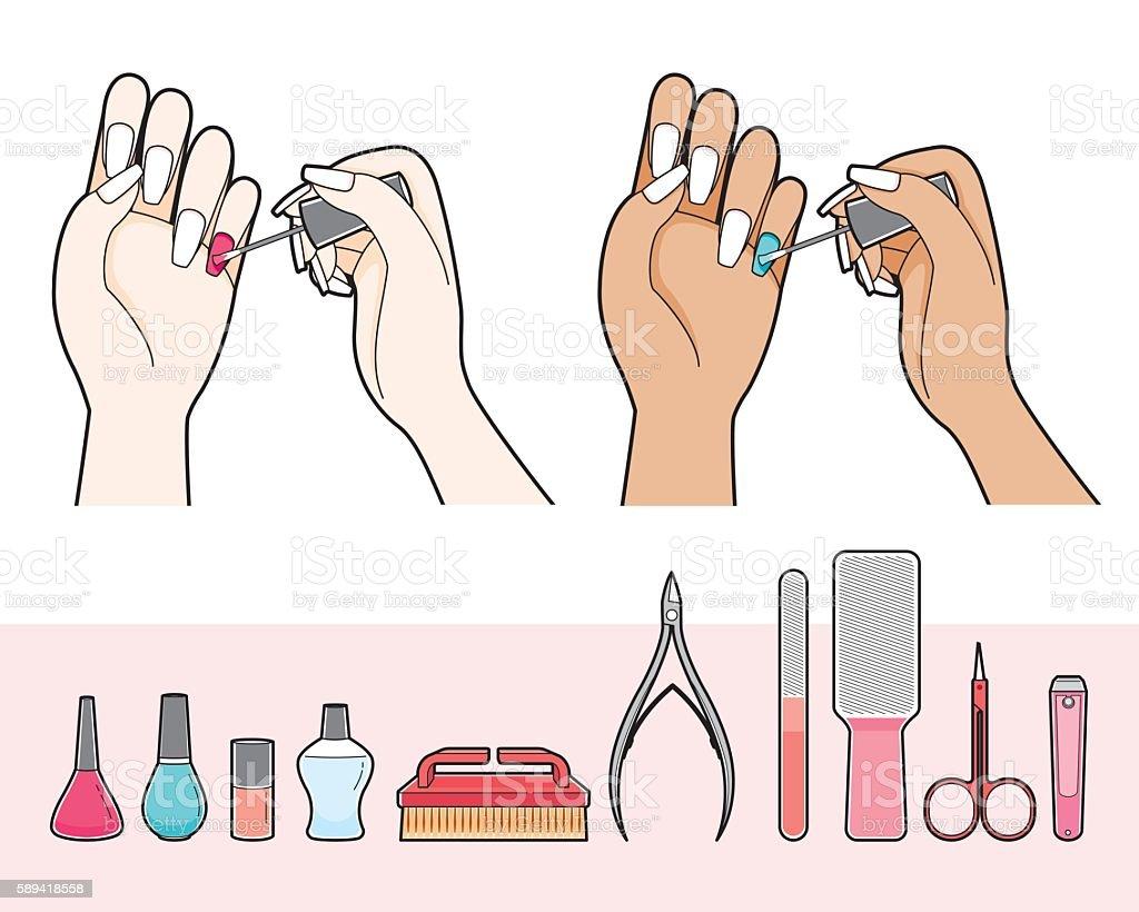 Manicure And Equipment For Nail Salon - ilustração de arte em vetor