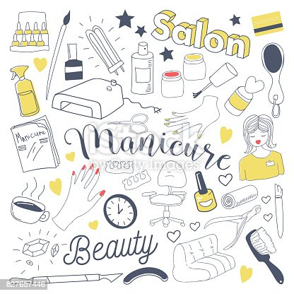 Manicure and Pedicure Freehand Doodle. Beauty Salon Hand Drawn Elements Set
