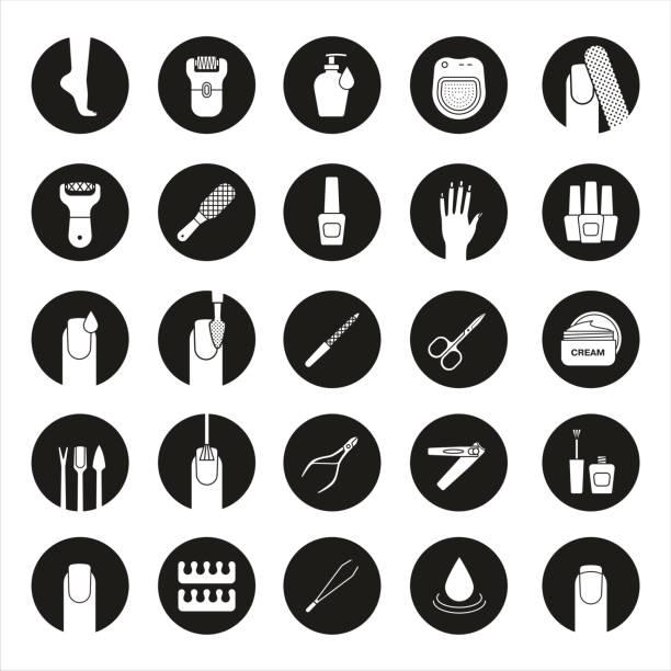 maniküre und pediküre-icons  - fußpflegeprodukte stock-grafiken, -clipart, -cartoons und -symbole
